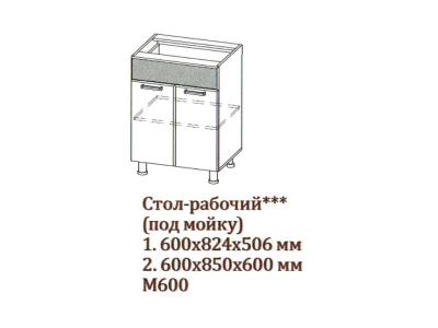 Арабика Стол-рабочий 600 под мойку М600 600х824х506 Дуб Сонома-Арабика