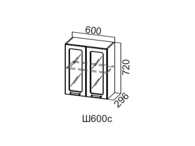 Дополнительный модуль SV Шкаф навесной со стеклом 600 Ш600с 720x600x296мм