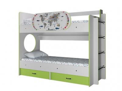 Двухъярусная кровать Умка с ящиками и одним бортиком Карта лайм