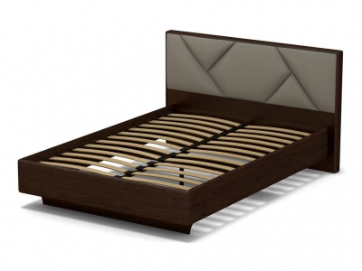 Кровать 140 Аида с основанием Венге - МДФ Орех премиум - ткань Энигма бежевый