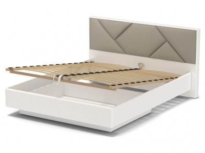 Кровать 160 Аида ПМ Белый - МДФ Топлёное молоко - ткань Энигма бежевый