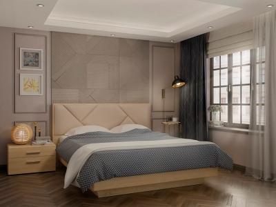 Кровать 160 Аида ПМ Дуб сонома - МДФ Дуб модерн - ткань Энигма бежевый