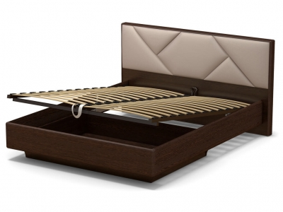 Кровать 160 Аида ПМ Венге - МДФ Орех премиум - ткань Матрикс кларити