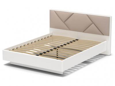 Кровать 160 Аида с основанием Белый - МДФ Топлёное молоко - ткань Матрикс кларити