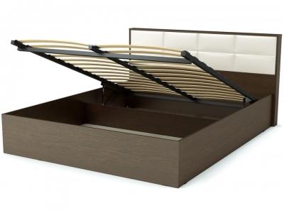 Кровать 160 Сонет ПМ Венге - эко-кожа белая