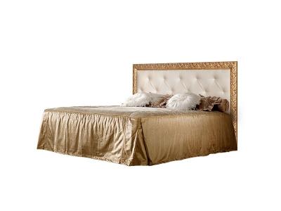Кровать 2-х спальная 1,8 м с мягким элементом со стразами ТФКР180-2[7] Тиффани Штрих золото
