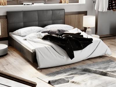 Кровать c мягкой обивкой тип 1 Элис Темная