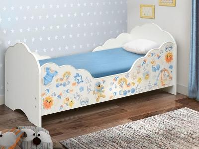 Кровать детская с бортом Малышка №3 белая с фотопечатью