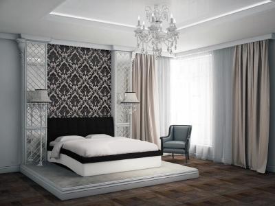 Кровать Domenic черная спинка-белые царги