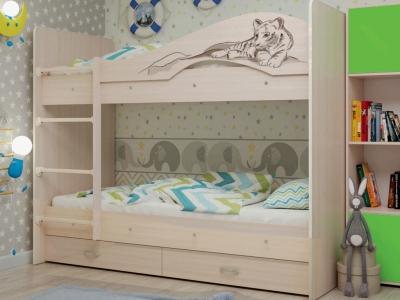 Кровать двухъярусная Мая-Сафари с ящиками дуб молочный