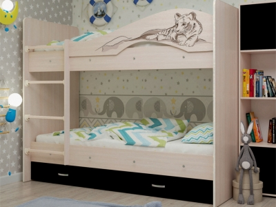 Кровать двухъярусная Мая-Сафари с ящиками дуб-венге