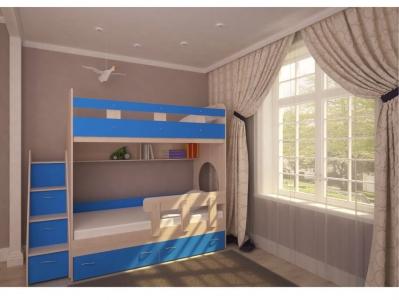Кровать двухъярусная Юниор 1 с бортиком дуб-синий