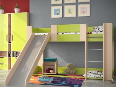 Кровать одноярусная №6 с горкой и игровой зоной