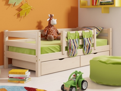 Кровать Соня с защитой по центру и ящиками No 4