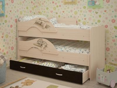 Кровать выкатная Радуга-Сафари с ящиками дуб-венге