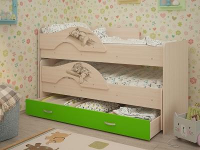 Кровать выкатная Радуга-Сафари с ящиками дуб-зеленый