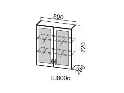 Кухня Прованс Шкаф навесной со стеклом 800 Ш800с-720 720х800х296мм