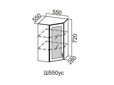 Кухня Прованс Шкаф навесной угловой со стеклом 550 Ш550ус-912 912х550х600мм
