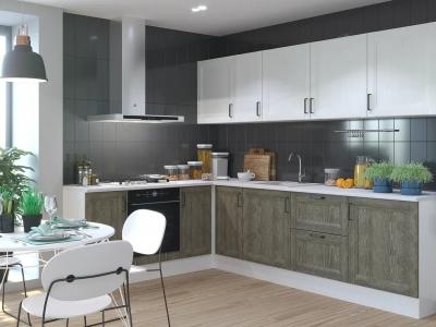 Кухня Винтаж дуб антик-сосна белая