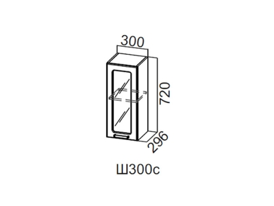 Кухня Волна Шкаф навесной со стеклом 300 Ш300с 720х300х296мм