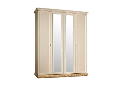 Шкаф 4-х дверный 2 зеркала для платья и белья ТФШ1/4 Тиффани Штрих золото