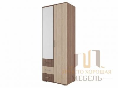 Шкаф двухстворчатый с зеркалом СВ 7 Ясень шимо темный/Ясень шимо светлый