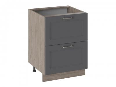 Шкаф напольный с 2 ящиками Н2Я(Т)_72-60_2Я Одри Серый шелк