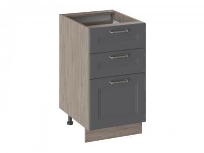 Шкаф напольный с 3 ящиками Н3Я(Т)_72-45_3Я Одри Серый шелк