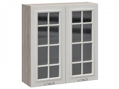Шкаф навесной cо стеклом В_96-90_2ДРс Сабрина