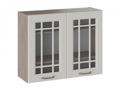 Шкаф навесной со стеклом В_72-90_2ДРс Одри Бежевый шелк