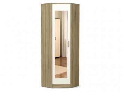 Шкаф угловой-2 Модуль с зеркалом Дуб сонома - Белый