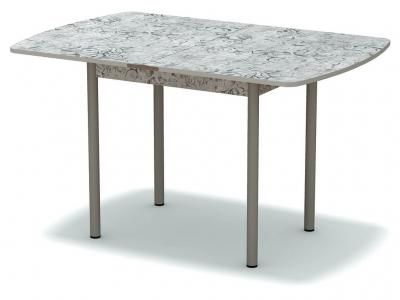 Стол обеденный раскладной закругленный Алладин серый - ноги серые