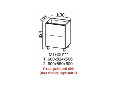 Стол-рабочий 600 под мойку горизонт Лофт МГ600