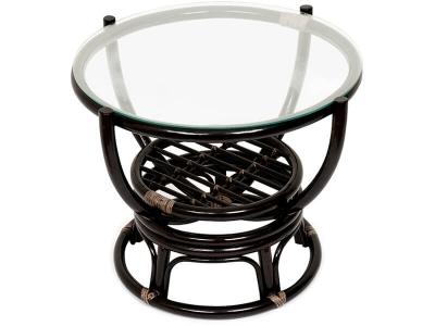 Столик журнальный со стеклом Benoa 5005 Античный Чёрно-коричневый